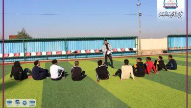 صورة التربية البدنية وعلوم الرياضية في الكوت الجامعة يقيم محاضرات عملية لدروسه التطبيقية اليوم .