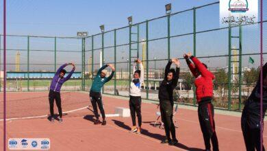 صورة يوميات كلية الكوت الجامعة  الجانب العملي لقسم التربية البدنية وعلوم الرياضة في ملاعب الكلية اليوم