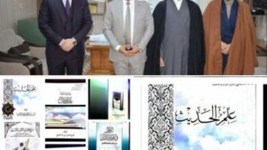 صورة وفد من المعهد التخصصي لعلوم القرآن التابع للعتبة  الحسينية المقدسة يزور كلية الامام الكاظم (ع) اقسام  النجف الأشرف