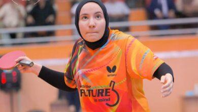 صورة طالبة بجامعة العين تمثل المنتخب الوطني العراقي بكرة تنس الطاولة