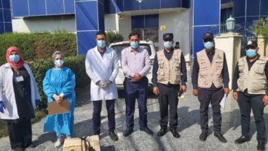 صورة زيارة لجنة صحية مشكله من وزارة الصحة والشرطة المجتمعية لكلية الرشيد الجامعة.