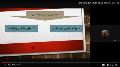 صورة محاضرة القانون الدولي الخاص المرحلة الرابعة عنوان المحاضرة الاثار التي تترتب على حركة الاجنبي م.م محمد حافظ م.م موج ماجد