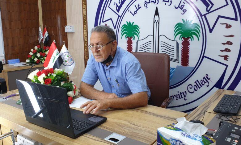 صورة عميد كلية شط العرب الجامعة يزور الصفوف الإلكترونية في قسم اللغة الإنكليزية