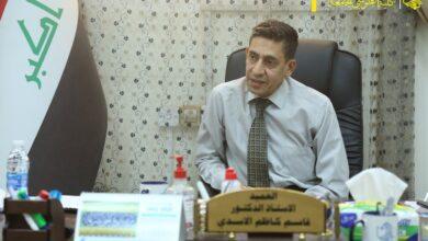 صورة السيد عميد كلية الطوسي الجامعة و معاوناه يلتقون بممثلي الطلبة