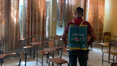 صورة بالتعاون مع جمعية الهلال الاحمر …حملة تعفيرٍ وتعقيم في اقسام واسط