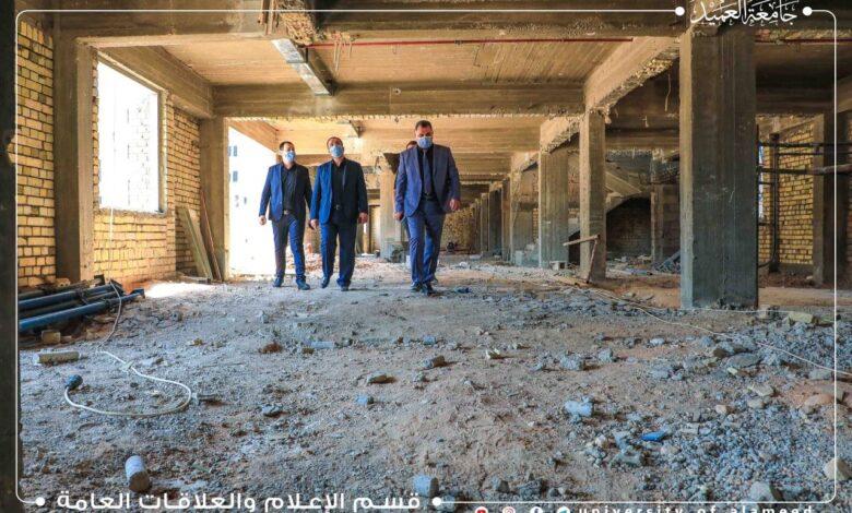 صورة رئيس جامعة العميد يطّلع على سير الأعمال في البناية الجديدة للعيادات التعليمية الخارجية لطب الأسنان