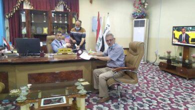صورة زيارة لجنة الشطب المركزية لكليات جامعة القادسية لتنظيم آليات شطب المواد المستهلكة