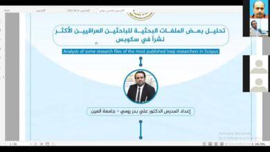 صورة جامعة العين تقدم محاضرة في تحليل الملفات البحثية للباحثين العراقيين الأكثر نشرا